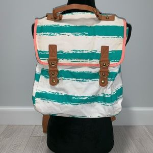 Forever 21 teal and white 80s style backpack